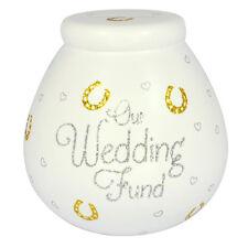 Piggy Bank WEDDING FUND Ceramic Savings Jar White w/Gold Glitter