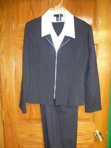 No Boundaries Pants Skirt Suit Womens Jr Size 9/10 Black Pin Stripe 3-Pc Dickie
