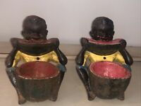 PAIR OF VINTAGE CAST IRON AFRICAN AMERICAN BOY EATING WATERMELON BLACK AMERICANA