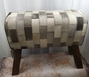 POMMEL Horse Foot Low Stool Patchwork Cow Hide Leather Natural Wood Leg