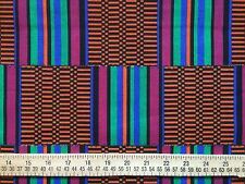 """AFRICAN TRIBAL Cotton Fabric Orange Black Teal for sewing and quilting 1yd 17"""" L"""