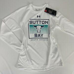 Under Armour Boys Sutton Bay South Dakota Medium White Long Sleeve Shirt