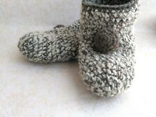 Crochet women slippers, Beige knitted shoes, Indoor  slippers, Wool socks