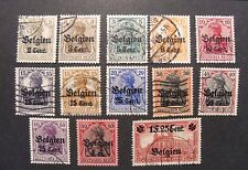 "GERMANY GERMANIA REICH 1916 1WW BELGIO "" Fr. di Germania OVP "" 13 Valori Used/MH"