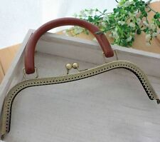 High-grade Bronze Metal Frame Kiss Clasp Solid wood For Handle Bag Purse 26CM