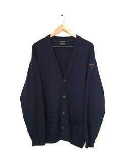 Vintage Paul & Shark Bretagne 100% wool mens cardigan blue Italian designer