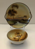 Vtg. Noritake HAND PAINTED Serving Plate w/Handles And Small Bowl EUC !!!