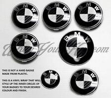 WHITE & BLACK CARBON FIBER BMW Badge Emblem Overlay HOOD TRUNK RIMS FITS ALL BMW