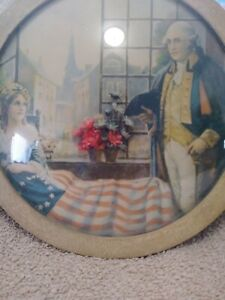 George Washington and Betsy Ross Dried Flower Art with Curved Glass Picture