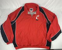Cincinnati Bearcats 58 Sports Red Black 1/4 Zip Lined Pullover Jacket 2XL