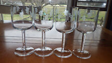 Clear Etched Glass WIne Water Glasses Floral design 4 9oz elegant stems