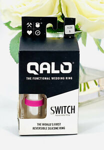 QALO Women's Switch Silicone Ring Size 6 Reversible Pink To White, NEW In Box'