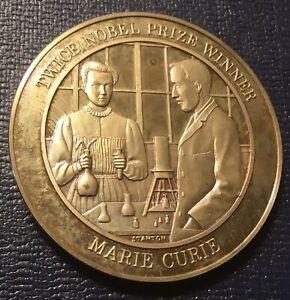 History Of Medicine Marie Curie Nobel Prize Winner Discoverer Radium Coin Medal