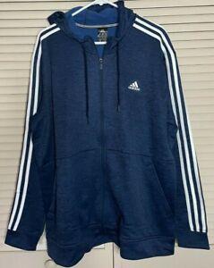 NWT Men's Adidas Climawarm Blue Hoodie Full Zip Tech Fleece 3 Stripe Size XL