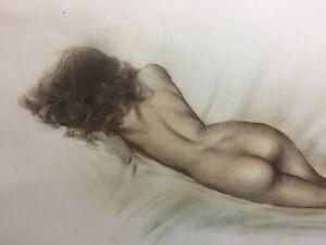 Signed Nude Female Portrait Art Full Body Model Framed Reclining
