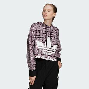Adidas Originals Trefoil Allover Print Hoodie Sport Pull Over Womens Size Medium