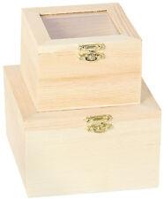 Holzkiste 2 in 1 mit Glasdeckel Holz Kiste Schatulle