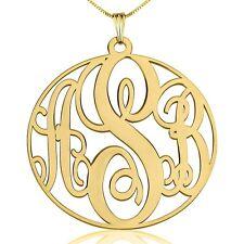 Large Gold Monogram Necklace 24K Gold Plated 1.5″ Circle Monogrammed Pendant