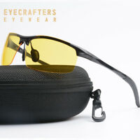 Night Vision HD Men's Sunglasses Driving Metal Polarized Yellow Outdoor Glasses
