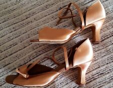 LATIN  BALLROOM Copper Tan Satin Dance Shoes 3