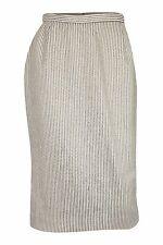 Jaeger Vintage Ivory Wool Cotton Blend Pinstripe Pencil Skirt (Uk 10)