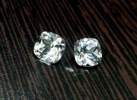 8 mm Cushion Cut Match Pair White Topaz Flawless Clarity Natural Gemstones Set