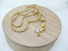 Collana Ciondolo Delfino Oro Punto luce Zircone  Dolphin collier pendentif en or