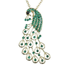 Vintage Green Rhinestones Studded Peacock Shape Chain Drop Fine Pendant Necklace