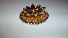 "Glamorous Crystal Brooch - 1 7/8"" Goldtone, AB Carnival/Gold/Smoky SPARKLE, 1563"