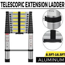 8.5-16.5FT Folding Multi Purpose Telescopic Extension Ladder Aluminum Heavy Duty