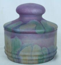 "Art Glass Nouveau Purple Multicolored Drip Satin Round Lidded Candy Dish 5"" Tall"