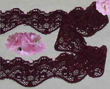 "Lace Trim Maroon Stretch 9 Yards x 1-1/2"" CLOSEOUT N55V Added Trims ShipFree"