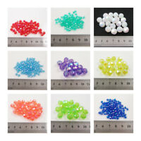 ROUND FACETED AB ACRYLIC BEADS *8 SIZES* *66 COLOURS* BEADING JEWELLERY MAKING