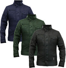 NEW MENS CROSSHATCH JACKET FULL ZIP DOUBLE LAYER PADDED BUTTON WINTER WARM COAT