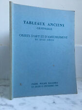 Catalogue of venteTableaux old Goldsmith Objects Art 11 December 1969