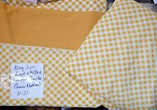 2 Pc Vintage KING Flat Sheet Fitted Sheet Gold Checks Cannon Monticello K-21