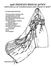GENE / BARBIE / TYLER doll Princess GRACE KELLY 1956 BRIDAL WEDDING Gown PATTERN