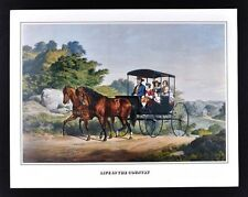 Currier & Ives Print - Life in the Country - Horse Buggy Family Vintage Reprint