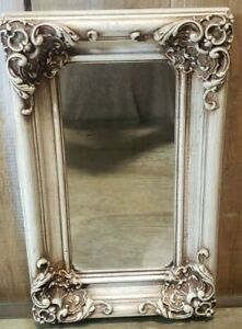 """Vintage Ornate Small Rectangle Wall Mirror 13"""" x 8"""" Baroque Style Antique"""