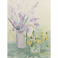Retro Original Iris Dandelion Still Life Watercolour Painting Pamela Spear