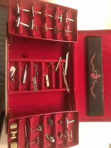 cufflinks ,pins ,Tie Clips vintage lot with case
