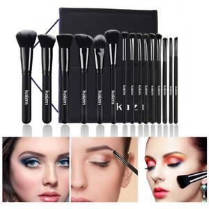 15Pcs Makeup Brush Foundation Powder Eyeshadow Liner Brush Black Set With Bag UK