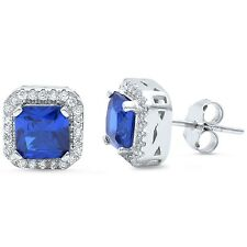 Princess Cut Sapphire Halo & Cz Stud .925 Sterling Silver Earrings