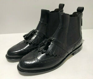BNIB Russell & Bromley Gilbert leather tassel fringe Chelsea boots 38.5 5.5 NEW