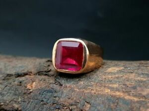 Men's Beautiful Square Ruby Ring, 22K Rose Gold Over Ring Price: US $429.79