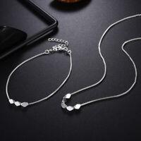 925 silver Fashion wedding Women charms girl cute hot necklace Bracelet set LS12