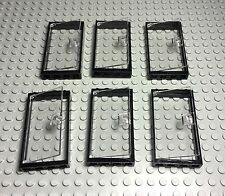 Lego X6 New Bulk Trans-clear Glass Door With Stud Handle And Black Frame 1x4x6