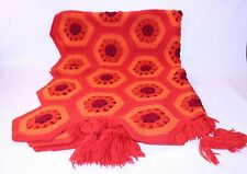 Rare Vtg Afghan Granny Blanket Throw Handmade Lap Crochet Knit Chair Orange Red