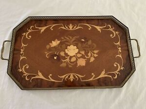 """Vintage Italian Serving Tray Inlaid Wood Floral Brass Trim 21"""" Wooden"""