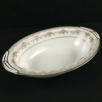 VTG Oval Vegetable Serving Bowl Noritake Glenwood 5770 Pink Roses Platinum Japan